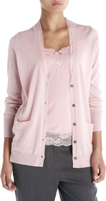 Silk Trim Boyfriend Cardigan - neckline: plunge; pattern: plain; length: below the bottom; predominant colour: pink; occasions: casual, work; style: standard; fibres: wool - 100%; fit: standard fit; sleeve length: long sleeve; sleeve style: standard; texture group: knits/crochet; pattern type: knitted - fine stitch; pattern size: standard