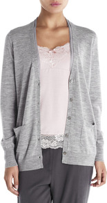 Silk Trim Boyfriend Cardigan - neckline: plunge; sleeve style: extended cuff; pattern: plain; length: below the bottom; predominant colour: mid grey; occasions: casual, work; style: standard; fibres: wool - 100%; fit: standard fit; sleeve length: extra long; texture group: knits/crochet; pattern type: knitted - fine stitch; pattern size: standard