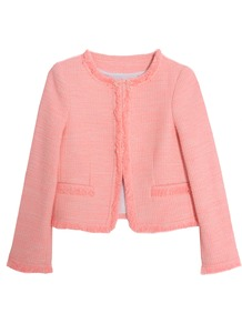 Kidman Open Front Box Jacket Pink - collar: round collar/collarless; length: cropped; style: boxy; pattern: herringbone/tweed; predominant colour: pink; occasions: casual; fit: straight cut (boxy); fibres: cotton - mix; sleeve length: long sleeve; sleeve style: standard; collar break: high/illusion of break when open; pattern type: fabric; pattern size: standard; texture group: tweed - light/midweight