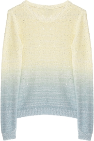 Kie Dip Dye Sequin Crew Jumper - neckline: round neck; length: below the bottom; style: standard; occasions: casual; fibres: wool - mix; fit: slim fit; predominant colour: multicoloured; sleeve length: long sleeve; sleeve style: standard; texture group: knits/crochet; pattern type: knitted - big stitch; pattern size: standard; pattern: patterned/print; embellishment: sequins