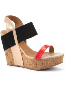Dolcis Coral Contrast Strap Wedges - occasions: casual, evening, holiday; predominant colour: multicoloured; material: faux leather; heel: wedge; toe: open toe/peeptoe; style: standard; finish: patent; pattern: colourblock; heel height: very high