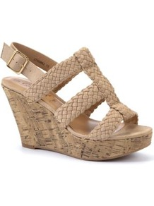 Nude Woven Cage Strap Wedges - predominant colour: champagne; occasions: casual, holiday; material: fabric; heel height: high; ankle detail: ankle strap; heel: wedge; toe: open toe/peeptoe; style: strappy; finish: plain; pattern: plain