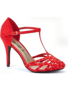Red Stud T Bar Heel Courts - predominant colour: true red; occasions: evening, occasion; material: fabric; heel height: high; embellishment: studs; ankle detail: ankle strap; heel: stiletto; toe: round toe; style: t-bar; finish: plain; pattern: plain