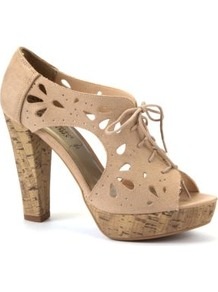 Nude Lace Up Cut Out Cork Heels - predominant colour: stone; occasions: casual, evening; material: fabric; heel height: high; heel: platform; toe: open toe/peeptoe; boot length: shoe boot; style: standard; finish: plain; pattern: plain