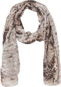 Cream Snake Print Longline Scarf - predominant colour: ivory; occasions: casual, evening, work; type of pattern: standard; style: regular; size: standard; material: fabric; pattern: animal print