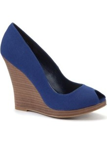 Blue Peeptoe Canvas Wedges - predominant colour: royal blue; occasions: casual, evening; material: fabric; heel: wedge; toe: open toe/peeptoe; style: courts; finish: plain; pattern: plain; heel height: very high