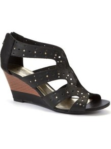 Black Cut Out Strap Wedges - predominant colour: black; occasions: casual, evening, holiday; material: faux leather; heel height: mid; embellishment: zips; ankle detail: ankle strap; heel: wedge; toe: open toe/peeptoe; style: strappy; finish: plain; pattern: plain