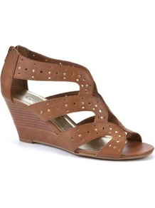 Tan Cut Out Strap Wedges - predominant colour: tan; occasions: casual, evening, holiday; material: faux leather; heel height: mid; embellishment: zips; ankle detail: ankle strap; heel: wedge; toe: open toe/peeptoe; style: strappy; finish: plain; pattern: plain
