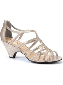 Silver Metallic Strap Mid Heels - predominant colour: silver; occasions: evening, occasion; material: faux leather; heel height: mid; ankle detail: ankle strap; heel: cone; toe: open toe/peeptoe; style: strappy; trends: metallics; finish: metallic; pattern: plain