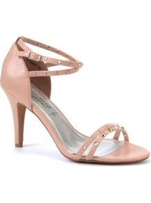 Nude Stud Strap Mid Heels - predominant colour: nude; occasions: evening, occasion; material: faux leather; heel height: high; embellishment: studs; ankle detail: ankle strap; heel: stiletto; toe: open toe/peeptoe; style: strappy; finish: patent; pattern: plain