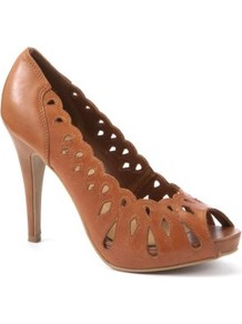 Tan Leather Cut Out Peep Toe Heels - predominant colour: tan; occasions: evening, work; material: leather; heel height: high; heel: platform; toe: open toe/peeptoe; style: courts; finish: plain; pattern: plain
