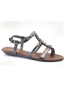 Pewter Eastern Jewelled Sandals - predominant colour: silver; occasions: casual, holiday; material: faux leather; heel height: flat; embellishment: jewels; ankle detail: ankle strap; heel: standard; toe: open toe/peeptoe; style: strappy; trends: metallics; finish: patent; pattern: plain