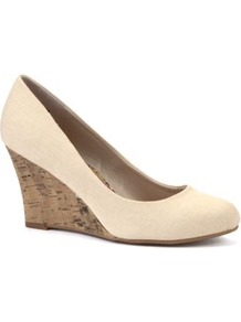 Nude Canvas Cork Wedge Shoes - predominant colour: ivory; occasions: casual, evening, work; material: fabric; heel height: high; heel: wedge; toe: round toe; style: courts; finish: plain; pattern: plain