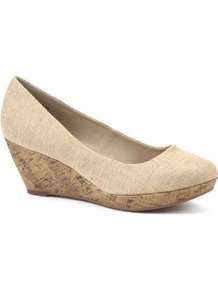 Wide Fit Nude Canvas Wedge Shoes - predominant colour: ivory; occasions: casual; material: fabric; heel height: mid; heel: wedge; toe: round toe; style: courts; finish: plain; pattern: plain