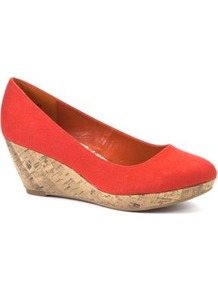 Wide Fit Orange Canvas Wedge Shoes - predominant colour: bright orange; occasions: casual; material: fabric; heel height: mid; heel: wedge; toe: round toe; style: courts; finish: plain; pattern: plain