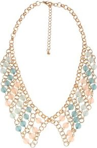 Gold Woven Pastel Bead Collar Necklace - predominant colour: gold; occasions: casual, evening, work, occasion, holiday; style: choker/collar; length: short; size: standard; material: chain/metal; finish: plain; embellishment: beading