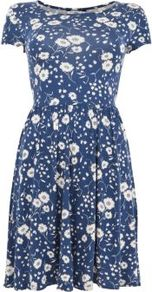 Blue And White Daisy Print Cap Sleeve Skater Dress - neckline: round neck; predominant colour: denim; occasions: casual, holiday; length: just above the knee; fit: fitted at waist & bust; style: fit & flare; fibres: viscose/rayon - stretch; hip detail: soft pleats at hip/draping at hip/flared at hip; sleeve length: short sleeve; sleeve style: standard; pattern type: fabric; pattern size: standard; pattern: florals; texture group: other - stretchy