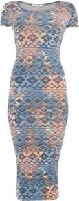 Blue And Orange Tie Dye Aztec Cap Sleeve Midi Dress - length: calf length; neckline: round neck; fit: tight; pattern: plain; style: bodycon; occasions: casual, evening, work; fibres: polyester/polyamide - stretch; predominant colour: multicoloured; sleeve length: short sleeve; sleeve style: standard; texture group: jersey - clingy; trends: statement prints; pattern type: fabric; pattern size: standard