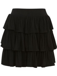 Black Jersey Tiered Mini Skirt - length: mid thigh; pattern: plain; fit: loose/voluminous; style: tiered; waist: high rise; predominant colour: black; occasions: casual, evening, holiday; fibres: viscose/rayon - stretch; waist detail: narrow waistband; hip detail: ruffles/tiers/tie detail at hip; pattern type: fabric; texture group: jersey - stretchy/drapey