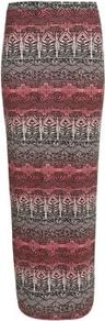 Coral Aztec Print Maxi Skirt - length: ankle length; fit: tight; waist detail: elasticated waist; waist: mid/regular rise; predominant colour: coral; occasions: casual, evening; fibres: polyester/polyamide - stretch; style: tube; texture group: jersey - clingy; trends: statement prints; pattern type: fabric; pattern size: big &amp; busy; pattern: patterned/print