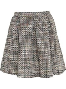 Black Coloured Thread Boucle Pleat Skirt - length: mini; pattern: plain; fit: loose/voluminous; style: pleated; waist: mid/regular rise; predominant colour: black; occasions: casual, evening, work; fibres: polyester/polyamide - 100%; pattern type: fabric; texture group: woven light midweight
