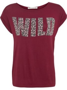 Plum Wild Animal Slogan T Shirt - neckline: round neck; sleeve style: capped; style: t-shirt; predominant colour: burgundy; occasions: casual, holiday; length: standard; fibres: cotton - stretch; fit: straight cut; sleeve length: short sleeve; pattern type: fabric; pattern size: small & light; pattern: patterned/print; texture group: jersey - stretchy/drapey