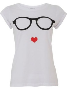 White Glasses Heart Print T Shirt - neckline: round neck; style: t-shirt; predominant colour: white; occasions: casual; length: standard; fibres: cotton - 100%; fit: body skimming; sleeve length: short sleeve; sleeve style: standard; pattern type: fabric; pattern size: standard; pattern: patterned/print; texture group: jersey - stretchy/drapey
