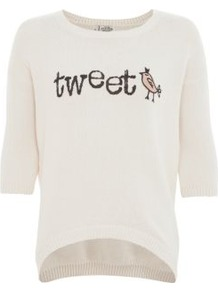 Cream Tweet Bird Curve Hem Jumper - neckline: round neck; style: standard; predominant colour: ivory; occasions: casual; length: standard; fibres: acrylic - 100%; fit: standard fit; bust detail: contrast pattern/fabric/detail at bust; back detail: longer hem at back than at front; sleeve length: half sleeve; sleeve style: standard; texture group: knits/crochet; pattern type: knitted - other; pattern size: big & light; pattern: patterned/print