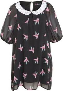 Black Bird Print Crochet Collar Tunic - sleeve style: puffed; length: below the bottom; style: tunic; secondary colour: pink; predominant colour: black; occasions: casual, evening; fibres: polyester/polyamide - 100%; fit: loose; neckline: no opening/shirt collar/peter pan; back detail: keyhole/peephole detail at back; sleeve length: short sleeve; texture group: sheer fabrics/chiffon/organza etc.; pattern type: fabric; pattern size: small & light; pattern: patterned/print; embellishment: embroidered