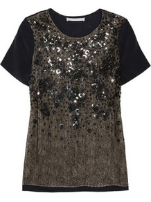 Embellished Lace And Jersey T Shirt - neckline: round neck; style: t-shirt; back detail: contrast pattern/fabric at back; predominant colour: black; occasions: evening, occasion, holiday; length: standard; fibres: silk - mix; fit: body skimming; sleeve length: short sleeve; sleeve style: standard; texture group: sheer fabrics/chiffon/organza etc.; pattern type: fabric; pattern size: small & busy; pattern: patterned/print; embellishment: beading