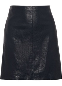 Leather Mini Skirt - length: mini; pattern: plain; fit: loose/voluminous; waist: mid/regular rise; predominant colour: black; occasions: casual, evening; style: mini skirt; fibres: polyester/polyamide - 100%; texture group: leather; pattern type: fabric; pattern size: standard
