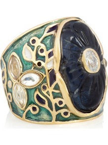 18 Karat Gold Plated Enameled Ring - predominant colour: navy; secondary colour: sage; occasions: casual, evening, occasion, holiday; style: cocktail; size: large/oversized; material: chain/metal; finish: metallic; embellishment: crystals