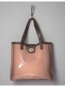 Chelsea Bag - secondary colour: chocolate brown; predominant colour: nude; occasions: casual, work; type of pattern: standard; style: tote; length: shoulder (tucks under arm); size: standard; material: leather; pattern: plain; finish: patent