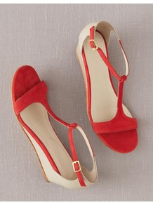 T Bar Demi Wedges - predominant colour: true red; occasions: casual, holiday; material: suede; heel height: mid; ankle detail: ankle strap; heel: wedge; toe: open toe/peeptoe; style: standard; finish: plain; pattern: colourblock