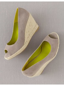 Peep Toe Espadrilles - predominant colour: light grey; occasions: casual, holiday; material: suede; heel height: high; heel: wedge; toe: open toe/peeptoe; style: courts; finish: plain; pattern: plain