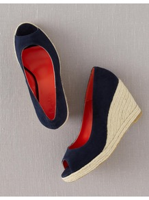 Peep Toe Espadrilles - predominant colour: navy; occasions: casual, holiday; material: fabric; heel height: high; heel: wedge; toe: open toe/peeptoe; style: courts; finish: plain; pattern: plain
