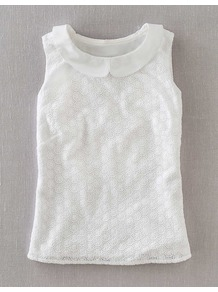 Marcy Top - pattern: plain; sleeve style: sleeveless; predominant colour: white; occasions: casual, holiday; length: standard; style: top; fibres: cotton - 100%; fit: straight cut; neckline: no opening/shirt collar/peter pan; sleeve length: sleeveless; pattern type: fabric; embellishment: embroidered; texture group: broiderie anglais
