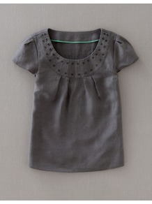 Pleat Linen Top - pattern: plain; style: t-shirt; bust detail: ruching/gathering/draping/layers/pintuck pleats at bust; predominant colour: charcoal; occasions: casual, work, holiday; length: standard; neckline: scoop; fibres: linen - 100%; fit: straight cut; sleeve length: short sleeve; sleeve style: standard; texture group: linen; pattern type: fabric; pattern size: standard