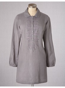 Salcombe Tunic - neckline: shirt collar/peter pan/zip with opening; length: below the bottom; style: tunic; bust detail: buttons at bust (in middle at breastbone)/zip detail at bust; predominant colour: mid grey; occasions: casual; fibres: linen - 100%; fit: body skimming; sleeve length: long sleeve; sleeve style: standard; texture group: linen; pattern type: fabric; pattern size: small & light; pattern: patterned/print; embellishment: embroidered