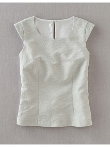 Textured Party Top - neckline: round neck; sleeve style: capped; pattern: plain; predominant colour: white; occasions: casual, work; length: standard; style: top; fibres: cotton - mix; fit: tailored/fitted; sleeve length: sleeveless; pattern type: fabric; pattern size: small &amp; light; texture group: woven light midweight