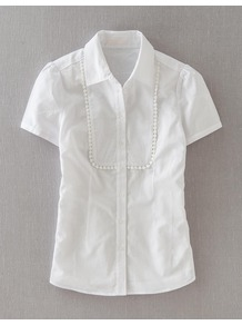 Great White Shirt - neckline: shirt collar/peter pan/zip with opening; pattern: plain; style: shirt; bust detail: ruching/gathering/draping/layers/pintuck pleats at bust; predominant colour: white; occasions: casual, work; length: standard; fibres: cotton - 100%; fit: tailored/fitted; sleeve length: short sleeve; sleeve style: standard; texture group: cotton feel fabrics; pattern type: fabric