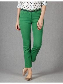 Cropped Jeans - style: straight leg; pattern: plain; pocket detail: traditional 5 pocket; waist: mid/regular rise; predominant colour: emerald green; occasions: casual; length: ankle length; fibres: cotton - stretch; texture group: denim; pattern type: fabric; pattern size: standard