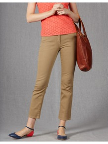 Cropped Jeans - style: straight leg; pattern: plain; pocket detail: traditional 5 pocket; waist: mid/regular rise; predominant colour: stone; occasions: casual; length: ankle length; fibres: cotton - stretch; texture group: denim; pattern type: fabric; pattern size: standard