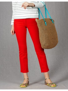 Cropped Jeans - style: straight leg; pattern: plain; pocket detail: traditional 5 pocket; waist: mid/regular rise; predominant colour: true red; occasions: casual, work; length: ankle length; fibres: cotton - stretch; texture group: denim; pattern type: fabric; pattern size: standard