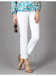 Cropped Jeans - style: straight leg; pattern: plain; pocket detail: traditional 5 pocket; waist: mid/regular rise; predominant colour: white; occasions: casual; length: ankle length; fibres: cotton - stretch; texture group: denim; pattern type: fabric; pattern size: standard