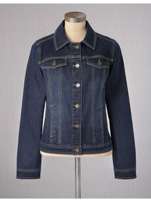 Denim Jacket - pattern: plain; style: denim; fit: slim fit; predominant colour: navy; occasions: casual; length: standard; fibres: cotton - 100%; collar: shirt collar/peter pan/zip with opening; sleeve length: long sleeve; sleeve style: standard; texture group: denim; collar break: high; pattern type: fabric; pattern size: standard