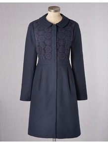 Florentine Coat - pattern: plain; style: single breasted; length: on the knee; predominant colour: navy; occasions: casual, evening; fit: tailored/fitted; fibres: linen - mix; collar: shirt collar/peter pan/zip with opening; bust detail: contrast pattern/fabric/detail at bust; sleeve length: long sleeve; sleeve style: standard; texture group: cotton feel fabrics; collar break: high; pattern type: fabric; pattern size: standard