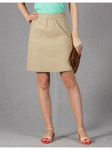 Off Duty Mini - pattern: plain; fit: tailored/fitted; waist: high rise; predominant colour: stone; occasions: casual; length: just above the knee; style: a-line; fibres: cotton - stretch; texture group: cotton feel fabrics; pattern type: fabric; pattern size: standard