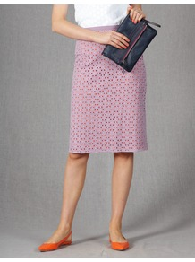 Broderie Skirt - pattern: plain; style: straight; waist: high rise; predominant colour: lilac; occasions: casual, work, holiday; length: on the knee; fibres: cotton - mix; texture group: lace; fit: straight cut; pattern type: fabric; pattern size: standard; embellishment: embroidered