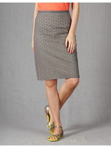 Broderie Skirt - pattern: plain; style: straight; fit: tailored/fitted; waist: mid/regular rise; predominant colour: mid grey; occasions: casual, work; length: just above the knee; fibres: cotton - 100%; texture group: cotton feel fabrics; pattern type: fabric; pattern size: standard; embellishment: embroidered